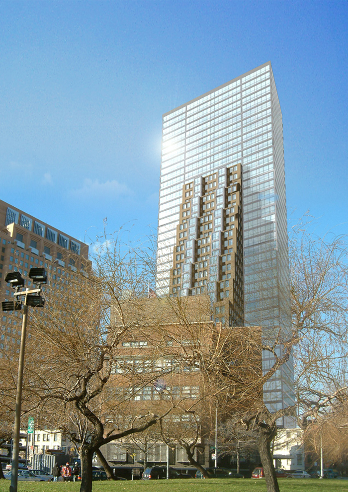 Architectural design proposal of a 40 story tower in Downtown Brooklyn